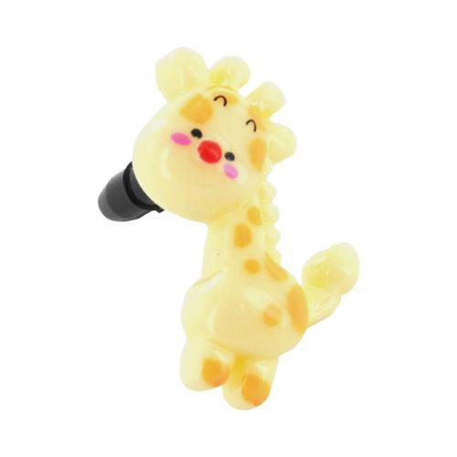 3.5mm Headphone Jack Stopple Charm - Yellow Giraffe