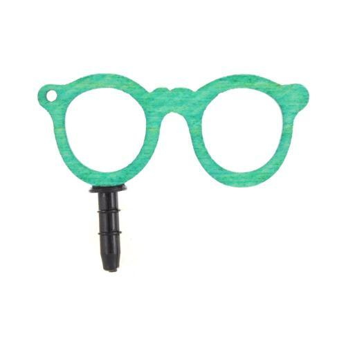 Universal 3.5mm Headphone Jack Stopple Charm - Turquoise Geek Glasses