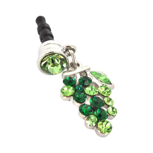 3.5mm Headphone Jack Stopple Charm - Grape w/ Green Gems