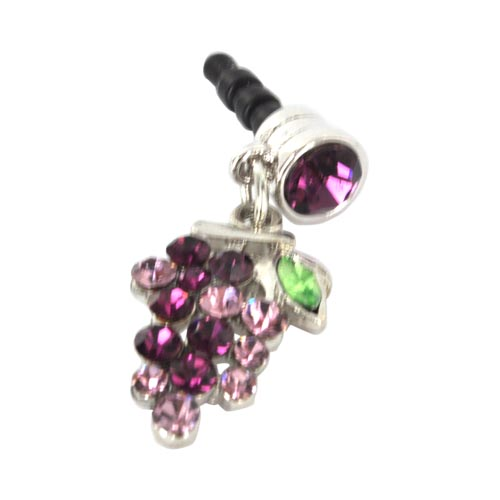 Universal 3.5mm Headphone Jack Stopple Charm - Grape w/ Purple Gems