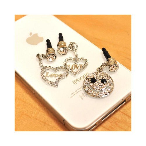 3.5mm Headphone Jack Stopple Charm - Bling Happy Face