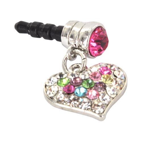 3.5mm Headphone Jack Stopple Charm - Silver Heart w/ Multi-Colored Gems