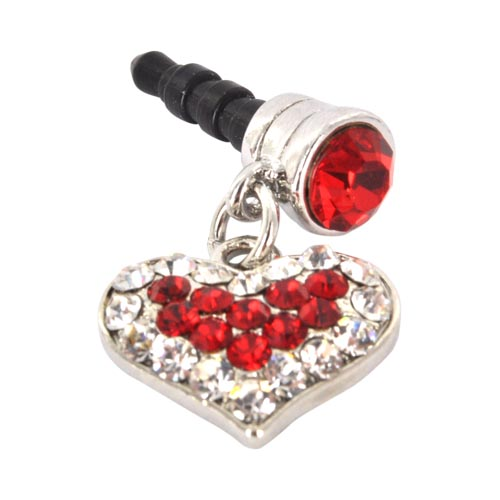 Universal 3.5mm Headphone Jack Stopple Charm - Silver Heart w/ Red Gems