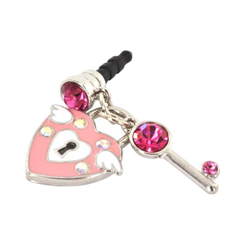 3.5mm Headphone Jack Stopple Charm - Pink Heart & Key w/ Silver & Pink Gems