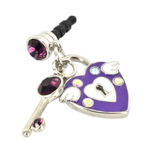 Universal 3.5mm Headphone Jack Stopple Charm - Purple Heart & Key w/ Silver & Purple Gems