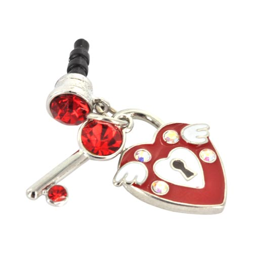 3.5mm Headphone Jack Stopple Charm - Red Heart & Key w/ Silver & Red Gems