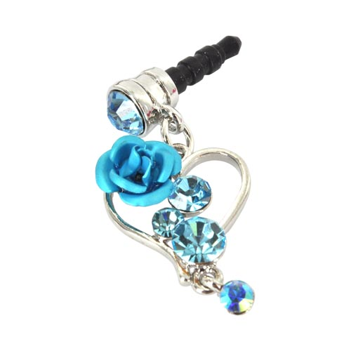 Universal 3.5mm Headphone Jack Stopple Charm - Silver Heart & Rose w/ Baby Blue Gems