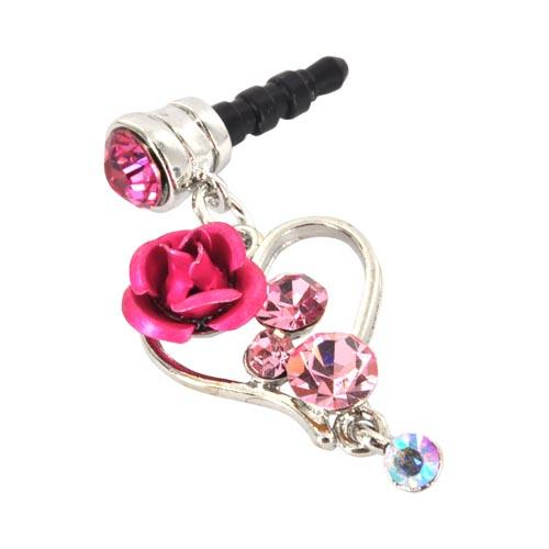Universal 3.5mm Headphone Jack Stopple Charm - Silver Heart & Rose w/ Pink Gems