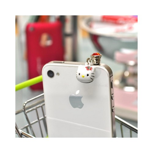 Officially Licensed Hello Kitty Universal 3.5mm Headphone Jack Stopple Charm - Red Bling w/ Hello Kitty Head Bell