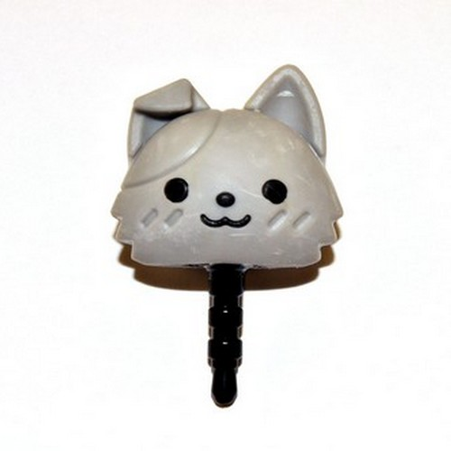 Universal 3.5mm Headphone Jack Stopple Charm - Cute Gray Kitty
