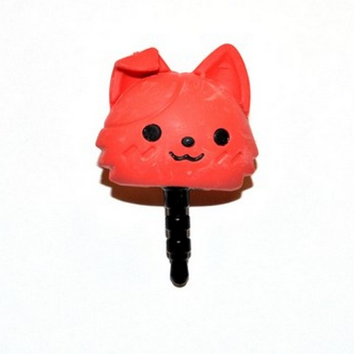 3.5mm Headphone Jack Stopple Charm - Cute Red Kitty