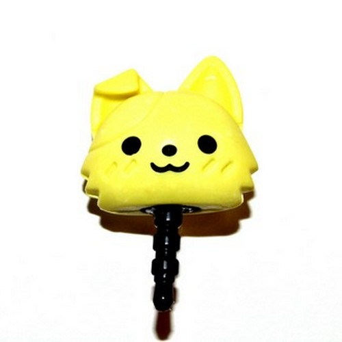3.5mm Headphone Jack Stopple Charm - Cute Yellow Kitty