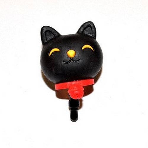 3.5mm Headphone Jack Stopple Charm - Black Lucky Cat