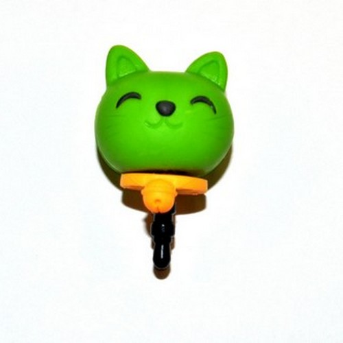 3.5mm Headphone Jack Stopple Charm - Lime Green Lucky Cat