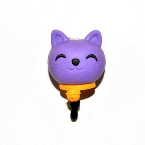 3.5mm Headphone Jack Stopple Charm - Purple Lucky Cat