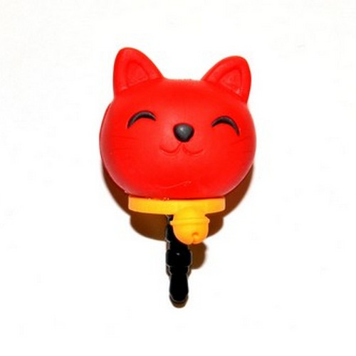 3.5mm Headphone Jack Stopple Charm - Red Lucky Cat