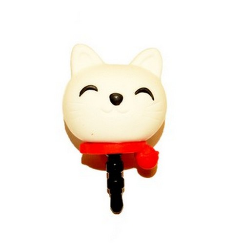 3.5mm Headphone Jack Stopple Charm - White Lucky Cat