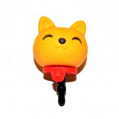 3.5mm Headphone Jack Stopple Charm - Yellow Lucky Cat