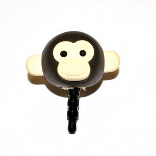 Universal 3.5mm Headphone Jack Stopple Charm - Dark Brown Monkey
