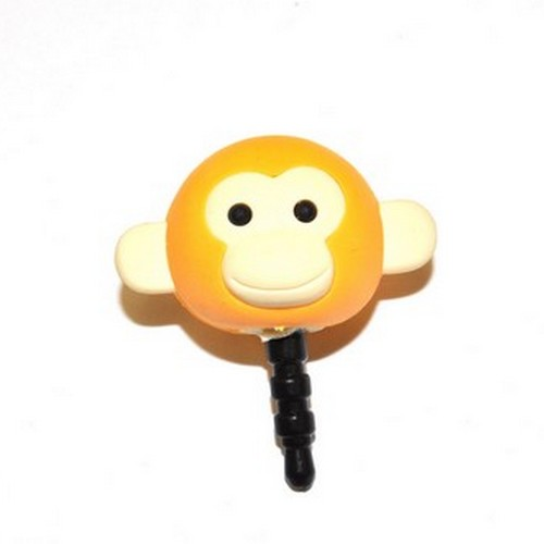 3.5mm Headphone Jack Stopple Charm - Light Gold Yellow Monkey