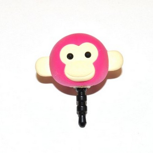 3.5mm Headphone Jack Stopple Charm - Hot Pink Monkey