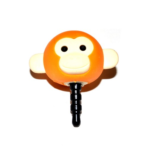Universal 3.5mm Headphone Jack Stopple Charm - Dark Orange/ Yellow  Monkey