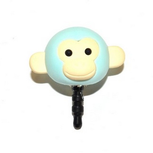 Universal 3.5mm Headphone Jack Stopple Charm - Pastel Aqua Monkey