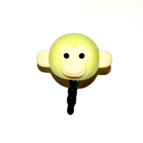 3.5mm Headphone Jack Stopple Charm - Pastel Green Monkey