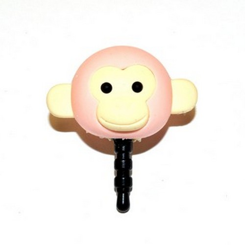 Universal 3.5mm Headphone Jack Stopple Charm - Pastel Pink Monkey