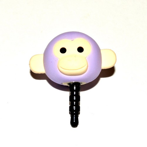 Universal 3.5mm Headphone Jack Stopple Charm - Pastel Purple Monkey