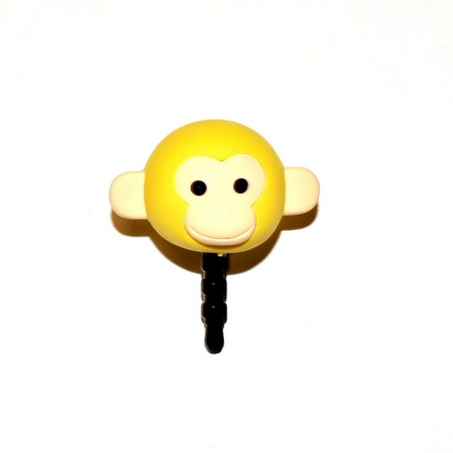 Universal 3.5mm Headphone Jack Stopple Charm - Pastel Yellow Monkey