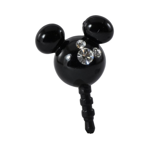 Black Mouse Ears w/ Silver Gems Universal 3.5mm Headphone Jack Stopple Charm