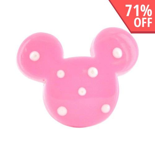 Universal 3.5mm Headphone Jack Stopple Charm - Baby Pink w/ White Polka Dot Mouse