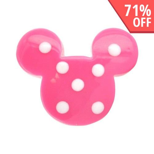 Universal 3.5mm Headphone Jack Stopple Charm - Hot Pink w/ White Polka Dot Mouse