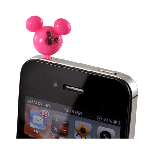 Pink Mouse Ears w/ Pink Gems Universal 3.5mm Headphone Jack Stopple Charm