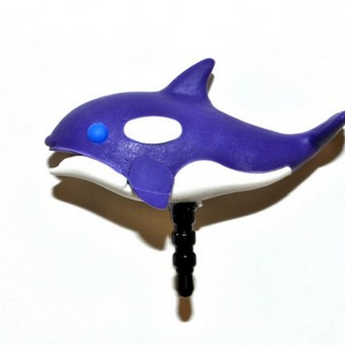 3.5mm Headphone Jack Stopple Charm - Purple/ White Orca