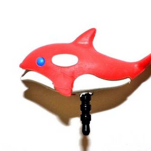 Universal 3.5mm Headphone Jack Stopple Charm - Red/ White Orca