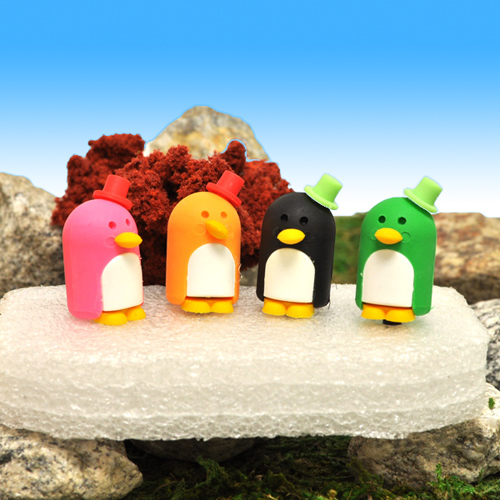 3.5mm Headphone Jack Stopple Charm - Baby Pink Penguin w/ Top hat