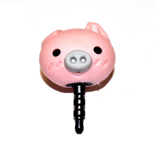 Universal 3.5mm Headphone Jack Stopple Charm - Cute Baby Pink Pig