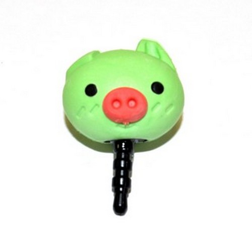 3.5mm Headphone Jack Stopple Charm - Cute Green Pig