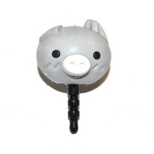 3.5mm Headphone Jack Stopple Charm - Cute Gray Pig