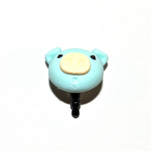 Universal 3.5mm Headphone Jack Stopple Charm - Pastel Aqua Pig
