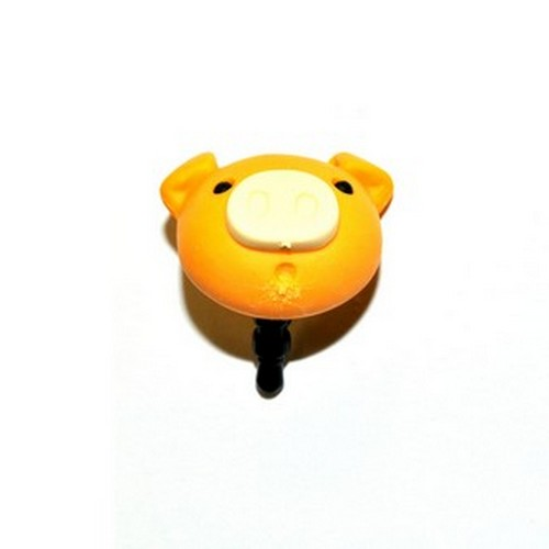 3.5mm Headphone Jack Stopple Charm - Pastel Gold Yellow Pig