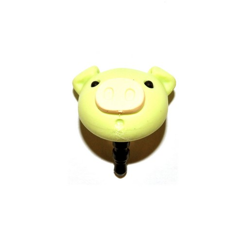 3.5mm Headphone Jack Stopple Charm - Pastel Lime Green Pig