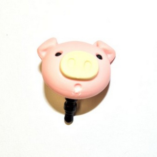 3.5mm Headphone Jack Stopple Charm - Pastel Pink Pig