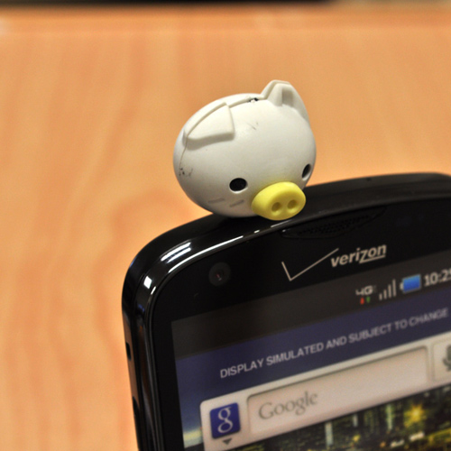 3.5mm Headphone Jack Stopple Charm - Cute White Pig