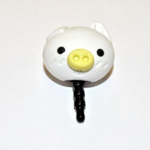 Universal 3.5mm Headphone Jack Stopple Charm - Cute White Pig