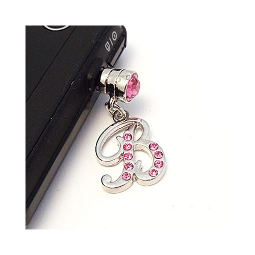 "Silver Initial ""B"" w/ Pink Gems Universal 3.5mm Headphone Jack Stopple Charm"