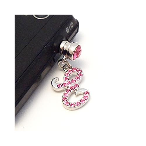 "Silver Initial ""E"" w/ Pink Gems 3.5mm Headphone Jack Stopple Charm"