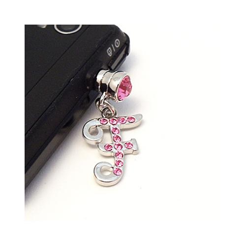 "Silver Initial ""F"" w/ Pink Gems 3.5mm Headphone Jack Stopple Charm"